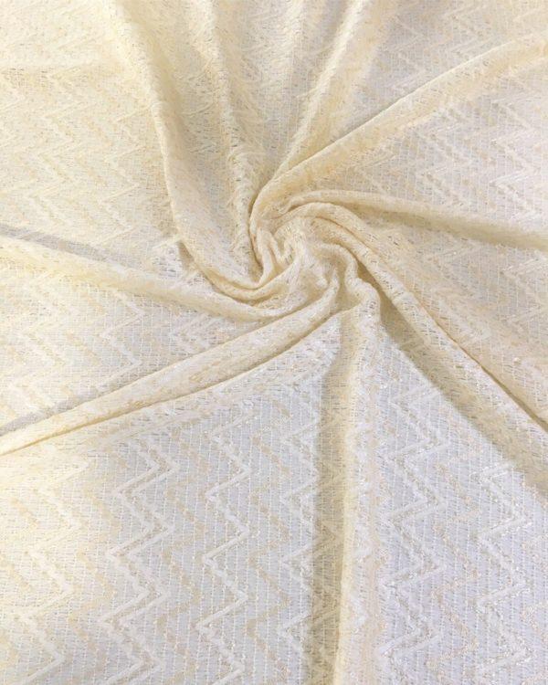 Ткань костюмная типа Chanel в зигзаг (молочная)