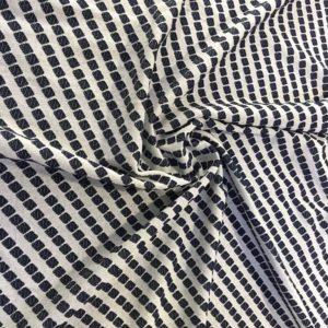 Трикотаж джерси в ромбы по диагонали (бело-синий)