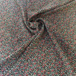 Вискоза в мелкий цветочек Маруся (красные на черном)