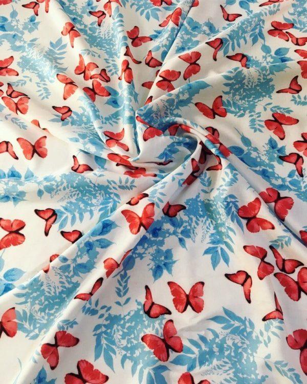 Вискоза в бабочки (красно-голубые на белом фоне)