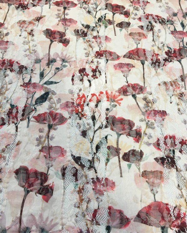 Гипюр, кружево с принтом Dsquared (красно-розовый)