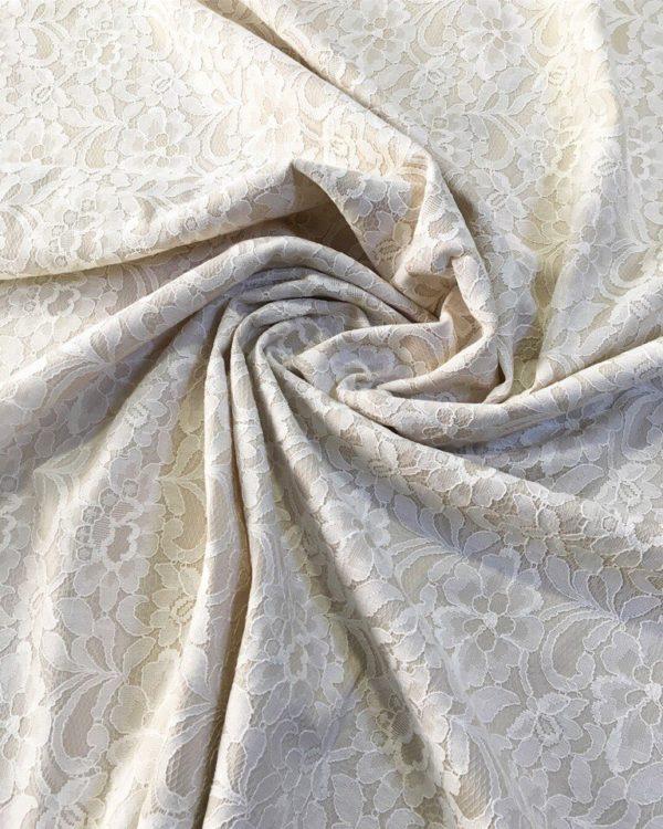 Гипюр на трикотаже в цветы Dsquared (бело-бежевый)