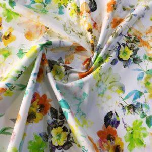 Хлопок в цветы MSGM (зелено-оранжевые на белом)