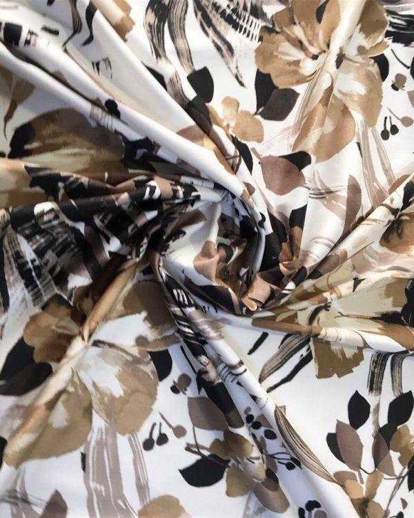 Хлопок в цветы MSGM (бело-коричневые)