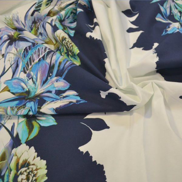 Хлопок в цветы MSGM (голубые на белом) (RAP)