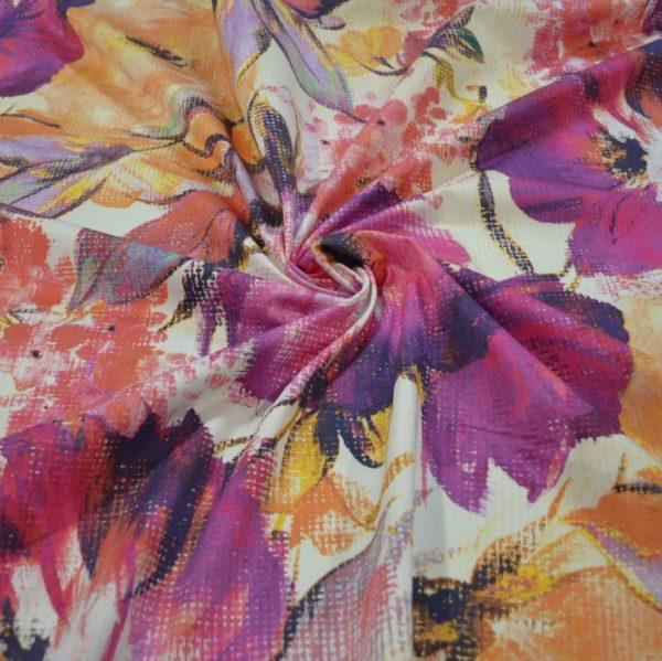 Хлопок MSGM большие цветы (розово-жёлтые на белом)