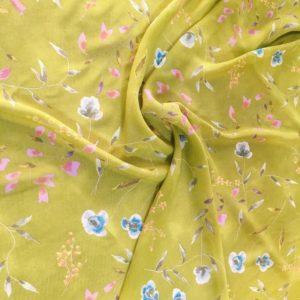 Вискоза шифон в цветы (жёлтая)