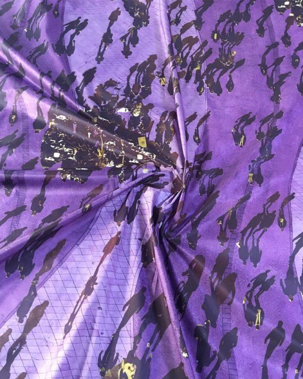 Плащовка MSGM с принтом люди (фиолетово-сиреневая)