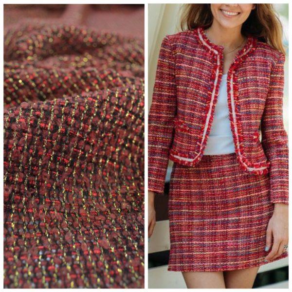 Ткань костюмная с люрексом типа Chanel (бордо)