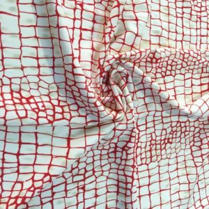 Трикотаж с рисунком жираф (бело-красный)