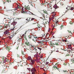Вискоза  красные цветы на белом