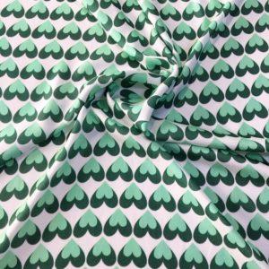 Вискоза в сердечки (бело-зелёный)