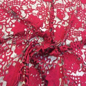 Вышивка, кружево Dsquared (красные цветы на чёрном)