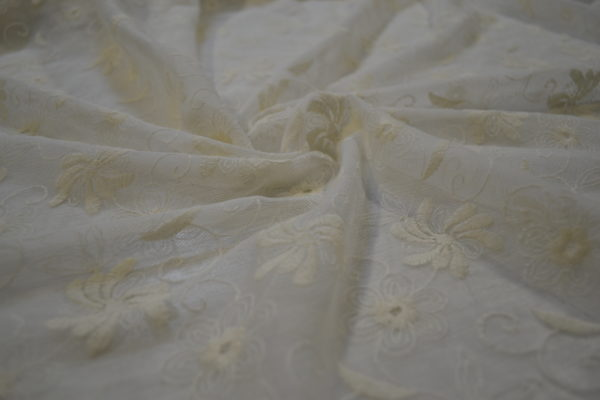 Гипюр шитьё на сетке Blumarine (молочный)
