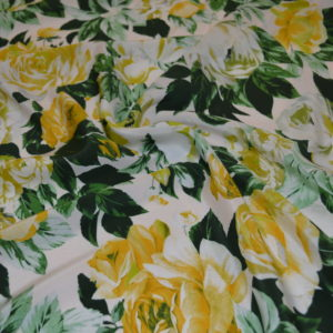 Шелк RATI (зелено-желтые розы на белом)