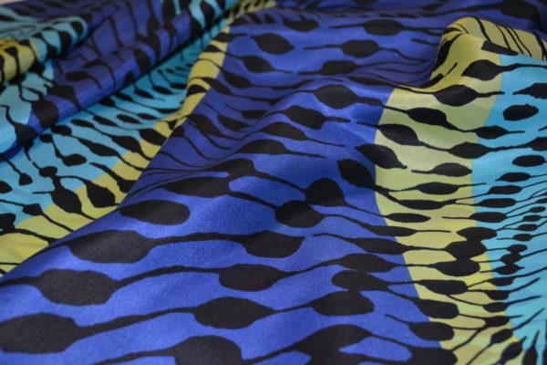 Шелк абстракция (сине-желто-голубой)