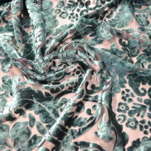 Панбархат в цветы (зеленый)