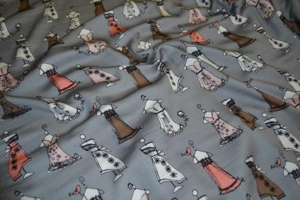 Вискоза в платья (на сером бело-коричневые, розовые)