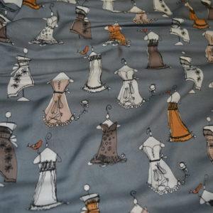 Вискоза в платья (на сером бело-коричневые, горчица)