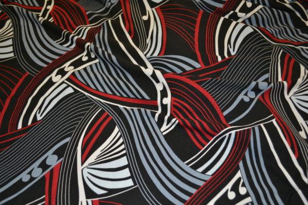 Трикотажное полотно (красно-серо-белая обстракция)