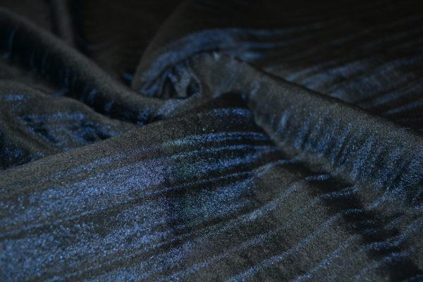 Ткань костюмно-плательная жатая шелк на шерстяной основе  VERSACE (синяя)