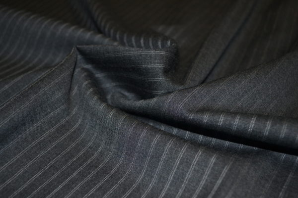 Шерсть костюмная с эластаном (тёмно-серая в полоску)