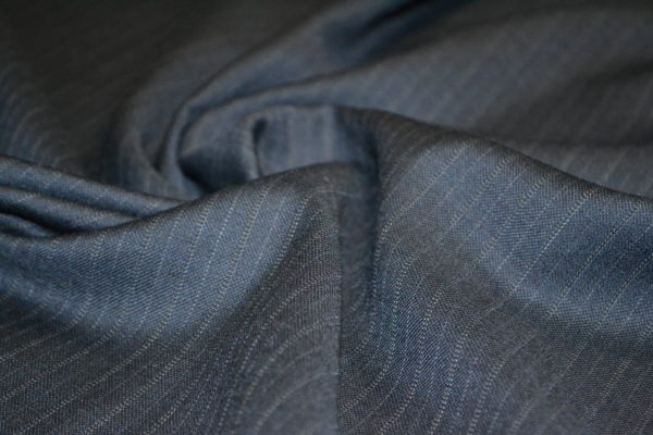 Шерсть костюмная (синяя в полоску)