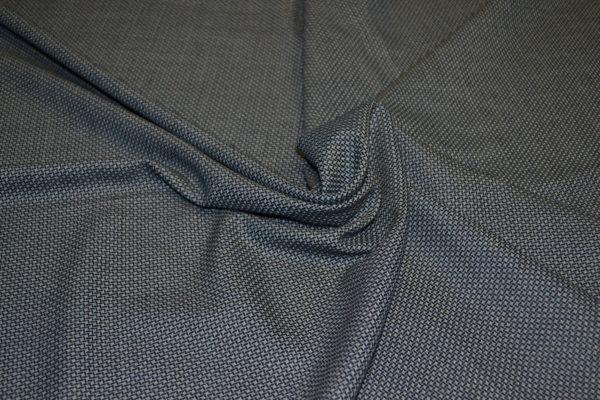 Шерсть с шелком костюмная гусиная лапка цвет сине-серый