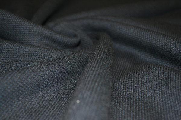 Шерсть костюмная с шелком Loro Piana (черная трикотажного плетения)