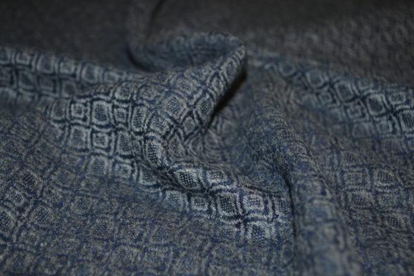 Шерсть  LORO PIANA серо-синяя с рисунком