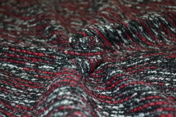 Твид черно-бордово-серый