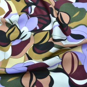 Вискоза MSGM с абстрактным цветочным принтом (в охристо-фиолетовых тонах)